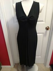 Chico#x27;s Black Maxi High Low Dress Size 1 Knit Rayon Spandex New with Tags $19.99