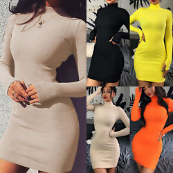 Women High Neck Sweater Bodycon Knit Jumper Mini Dress Long Sleeve Party Dresses $19.09
