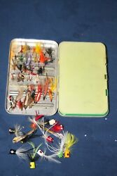 VINTAGE PERRINE # 99 FLY FISHING BOX WITH FLIES AND POPPERS $29.99