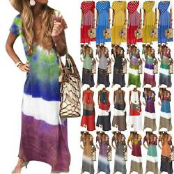 Women Boho Tie Dye Maxi Long Dress Summer Casual Beach Holiday Loose Sun Dresses $17.85