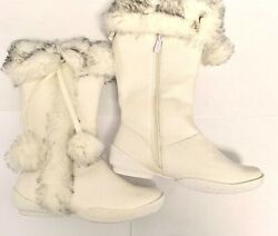 Carrini kids girls white suede Faux Fur Cold Weather Boot $22.00