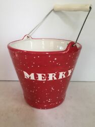 Department 56 MERRY MERRY Red White Ceramic Pail 56.37162 NEW $12.95