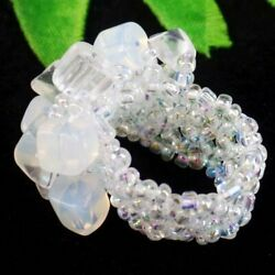 Opal Opalite Chips Titanium Crystal Pendant Bead Stretchy Ring $3.89