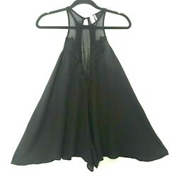 Out From Under Women#x27;s Black Halter Loose Flowing Romper Size Small $26.12