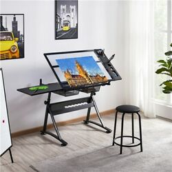 Glass Drafting Table Artists Drawing Desk Adjustable with 2 Drawers amp; Stool $144.99