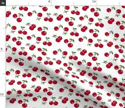 Red White Cherry Rockabilly Retro Kitchen Gothic Spoonflower Fabric by the Yard $14.50