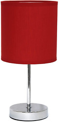 Red Small Desk Lamp Living Room Home Dorm Bed Side Mini Lightening Fabric Shade $17.99