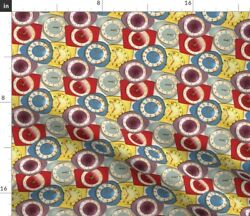 Vintage Retro Kitchen Furniture Fifties Clocks Spoonflower Fabric by the Yard $16.50