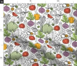 Vegetables Retro Kitchen Rustic Line Scandinavian Spoonflower Fabric by the Yard $30.00