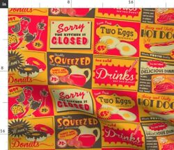 Retro Kitchen Diner Food Advertising Ads Limited Spoonflower Fabric by the Yard $14.50