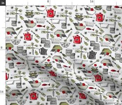 Retro Kitchen Teapot Cooking Cookware Painted Spoonflower Fabric by the Yard $14.50