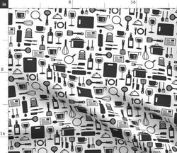 Black And White Retro Kitchen Cooking Chef Baking Spoonflower Fabric by the Yard $15.00