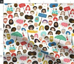 Faces Happy People Funny Novelty Kids Whimsical Spoonflower Fabric by the Yard $13.00