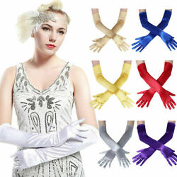 Women Satin Long Gloves Opera Ball Evening Party Prom Costume Glove Female Solid $7.99