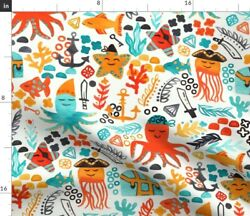 Jelly Fish Octopus Coral Novelty Kids Ocean Sea Spoonflower Fabric by the Yard $14.00