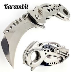 7.5quot; TACTICAL KARAMBIT FOLDING POCKET KNIFE SPRING OPEN ASSISTED BLADE CHROME $14.95