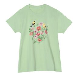 Morning Sun Women#x27;s Poppy T Shirt Green Floral Print Bird Tee Short Sleeve $20.44