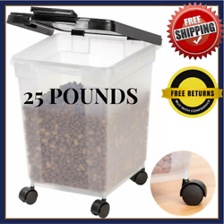 BFA Pet Large 25lb Pound Storage Container Bin For Food Dog With Lid And Wheels $46.99