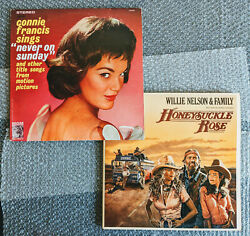 Willie Nelson amp; Connie Francis 3X12 Vinyl Lot MINT Classic Country Soundtracks $10.95