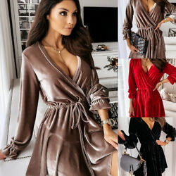 Sexy Womens V Neck Velvet Mini Skater Dress Evening Party Lace Up Gown Dresses $10.99