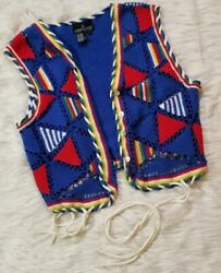 Carole Little Large Sweater Vest V Neck Colorful Buttons Triangles Blue Red Tie $10.79