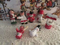 Lot of 7 Vintage Wooden Christmas Ornaments Hand Painted Wishing Well Snowmen $5.99
