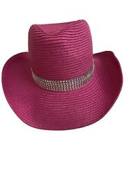 Pink Hat Western Style Rhinestone Look Sun Beach NEW With Tag $8.00