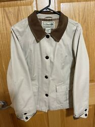 LL Bean Flannel Lined Chore Barn Jacket Womens Large Petite Coat Canvas Flaw $29.99