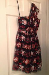 Embroidered Floral Black Mesh Party Dress quot;BCBGenerationquot; Womens size 8 $28.99