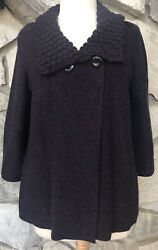 Nordstrom Collection Sz L Eggplant Heavy 100% Cashmere Cardigan Sweater Jacket $40.49