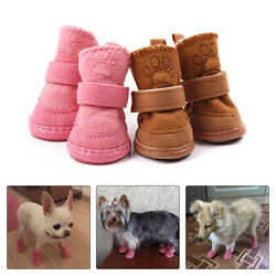 Warm Winter Pet Dog Boots Puppy Shoes Protective Anti slip Apparel for Small Dog $6.99