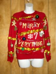 WOMENS SIZE SMALL NO BOUNDARIES 3 5 CAT GINGERBREAD ORNAMENTS GARLAND SWEATER $6.00