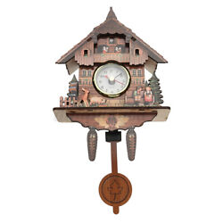 US Style Vintage Wood Cuckoo Clock Forest House Swing Wall Handcraft $19.73