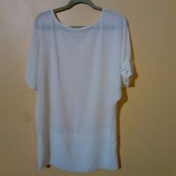 Libian Stretchy Sheer White Top With Dolman Sleeves $12.99