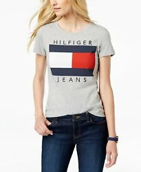 Tommy Hilfiger Cotton Embroidered Logo T Shirt Gray $13.90