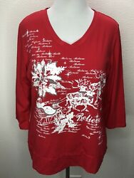 Women's Allyson Whitmore 1X Christmas Holiday Top 3 4 Sleeve Red Plus Size $9.95