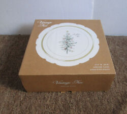 Pottery Barn Vintage Tree Christmas Tree Mixed Set of 4 Appetizer Plates New $29.99