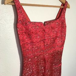 GEROGIOU Paisley Red Bodycon Dress Womens XS Small Cocktail Party Dresses $20.00