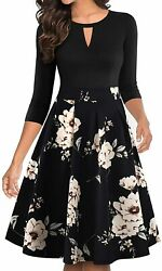 YATHON Women#x27;s Vintage Floral Flared A Line Swing Casual Party Dresses with Pock $62.70