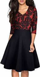 HOMEYEE Women#x27;s Chic V Neck Lace Patchwork Flare Party Dress A062 $79.55