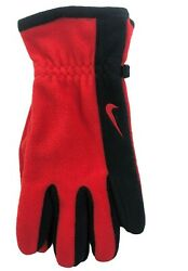 Nike Unisex Fleece Sport Gloves Red with Black One Size $16.77
