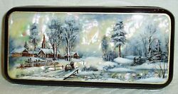 Russian Lacquer box Mother of pearl quot;Winter Landscape with Chapelquot; Hand Painted $104.95