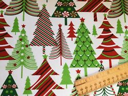 FQ Christmas Tree Red Green Stripe Peppermint Star Cotton Fabric Fat Quarter $7.99