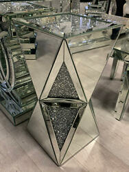 Pillar Mirrored Crushed Diamond Crystal Side End Table Stand Mirror Glitz NEW GBP 199.99