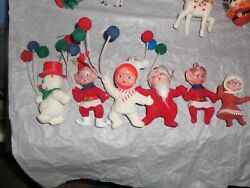 Antique Flocked Christmas Decorations Santa Snowman Elves Balloons Mrs. Lot 6 $15.00
