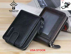 Men#x27;s Wallet Genuine Leather Credit Card Holder RFID Blocking Zipper Thin Pocket $11.99