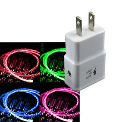 US Plug Wall Charger amp; Flowing LED USB Type C Data Sync Charging Charger Cable $8.99