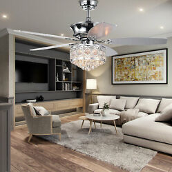 52quot; Modern LED Chandelier Crystal Ceiling Fan Light 5 Blades W Remote Control $179.00