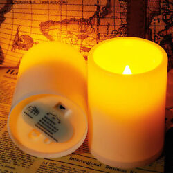 2Pcs Flickering Flameless Resin Pillar LED Candle Lights w Timer for Home Party $7.99