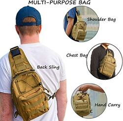 Tactical Shoulder Sling Bag Small Outdoor Chest Pack for Men Traveling Trekking $8.99
